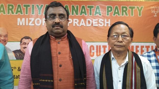 BJP national general secretary Ram Madhav in Aizawl on June 6, 2018. Photo: Sangzuala Hmar