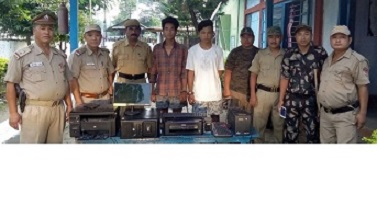 The stolen items along with the persons arrested by Ruksin Police. Northeast Now
