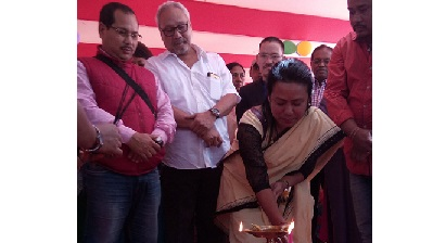 Ranu Langthasa, chairman, NCHAC, lighting a candle to mark the foundation laying ceremony of an intensive cancer care centre at Haflong. Northeast Now