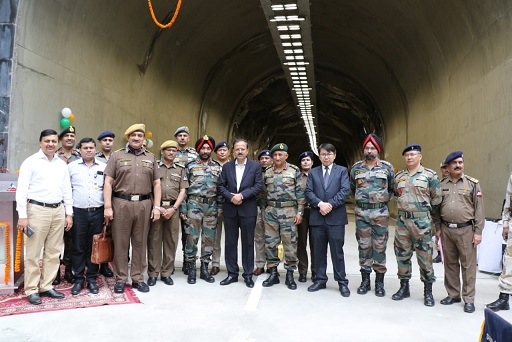 Union Minister of State for Defence, Dr Subhash Ramrao Bhamre along with BRO officials during the inauguration of Theng tunnel in North Sikkim on June 7, 2018. Photo: Sagar Chhetri