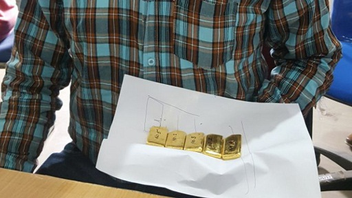Customs officials seized five gold biscuits from the possession of an individual in Imphal on May 31, 2018. Photo: Sobhapati Samom
