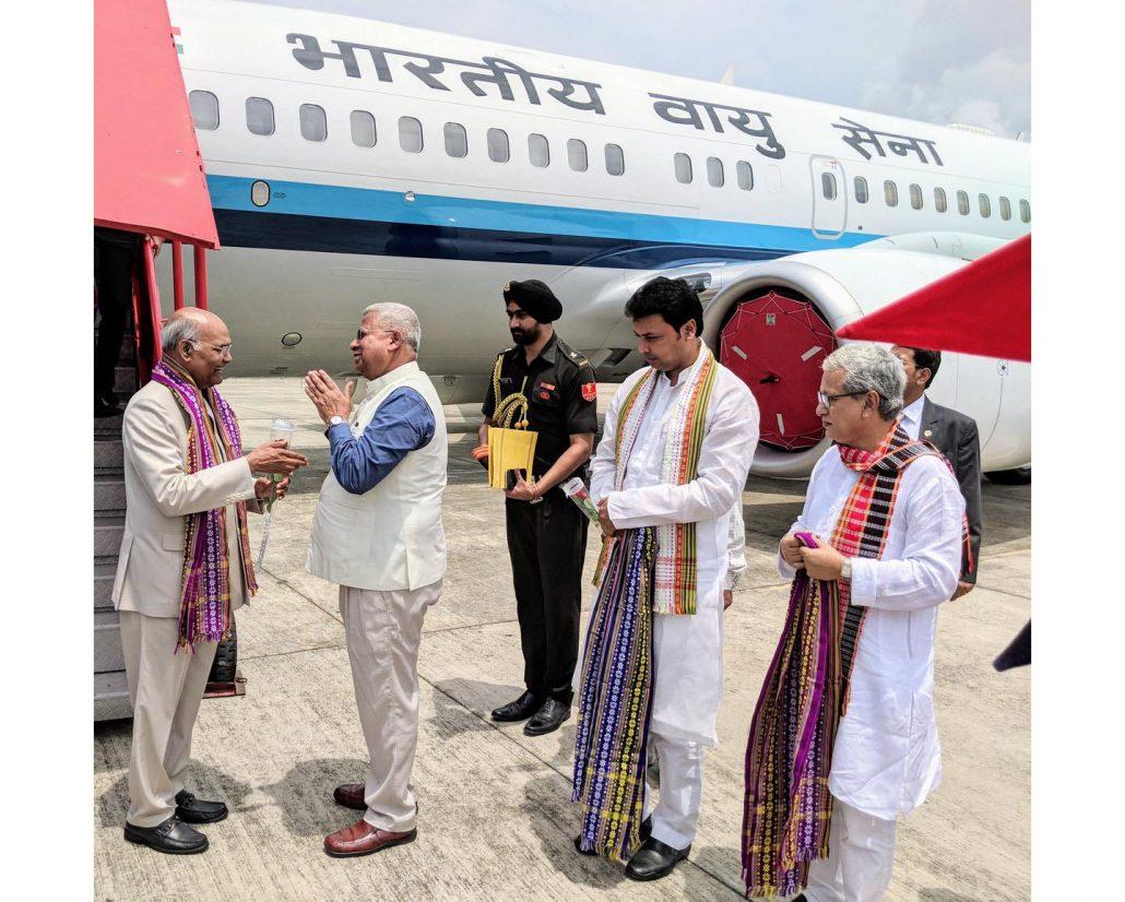 President kovind arrives in Agartala