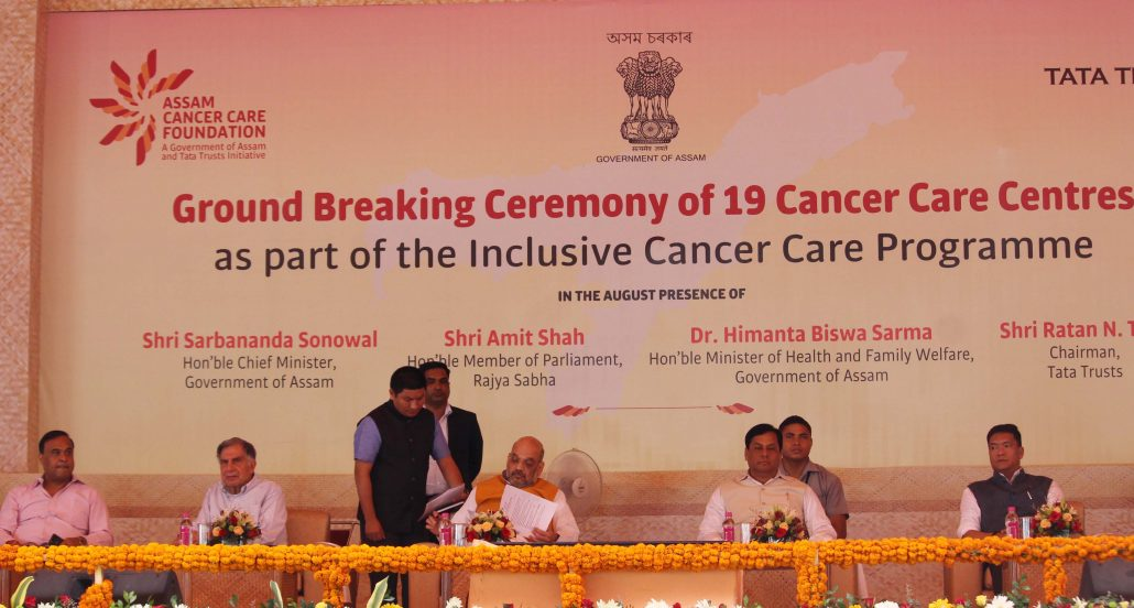 Amit Shah MP Rajya Sabha and BJP president, Ratan Tata Chairman Tata Trusts, chief Minister Sarbananda Sonowal, Health Minister Himanata Biswa Sarma and Arunachal Chief Minister Pema Khandu during Ground Breaking Ceremony of 19 Cancer Care Centres as Part of the Inclusive Cancer Care Programme at Khanapara Veterinary Collage Field in Guwahati on 18-06-18. Photo by UB Photos