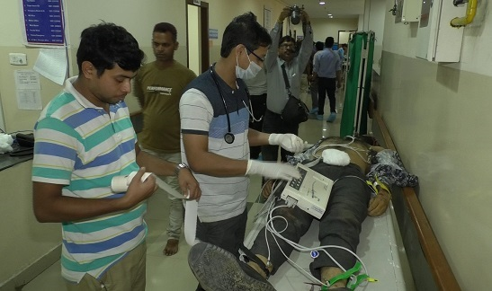 File photo of one of the critically injured being treated at the GB hospital in Agartala on June 28, 2018. Photo: Pinaki Das
