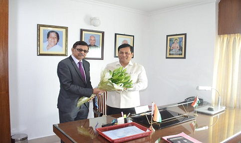 Chairman of Prasar Bharati Board Dr A Surya Prakash calling on Assam Chief Minister Sarbananda Sonowal at his official residence at Kharghuli on July 3, 2018. Northeast Now
