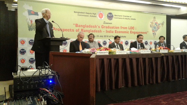 Syed Muazzem Ali, Bangladesh's high commissioner to India during a conference on Bangladesh 's graduation from a least developed country at Kolkata on July 23, 2018. Photo: Northeast Now