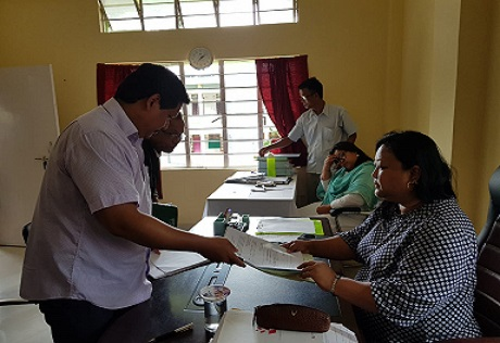 Meghalaya CM Conrad K Sangma filing nomination for South Tura by-polls on July 31, 2018. Photo: Northeast Now