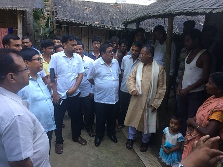 Leader of the Opposition in Assam Debabrata Saikia (second from left) meeting family members of Gopal Das of Nichlamari in Udalguri district who committed suicide after being unable to  remove the 'D' voter tag. Photo: Northeast Now