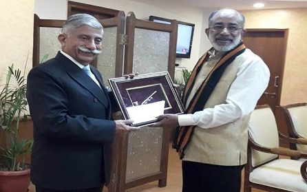 Arunachal Pradesh Governor B D Mishra calling on Union Minister of State (Independent Charge) for Tourism K J Alphons at his office in New Delhi on July 31, 2018. Photo: Damien Lepcha