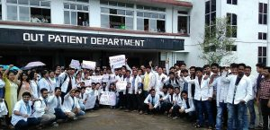 Junior Dotors of SMCH protest outside OPD in Silchar today