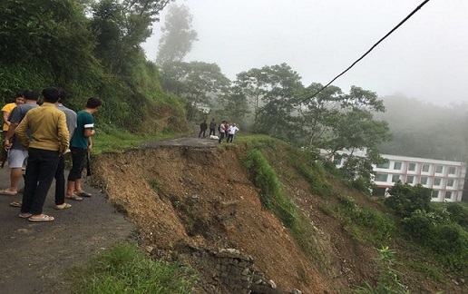 A road in Kohima after landslide. Photo: Bhadra Gogoi