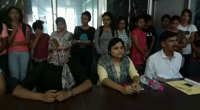 President of AUSU Milan Das along with the victim (left) addressing media at Silchar recently. File Photo: Northeast Now