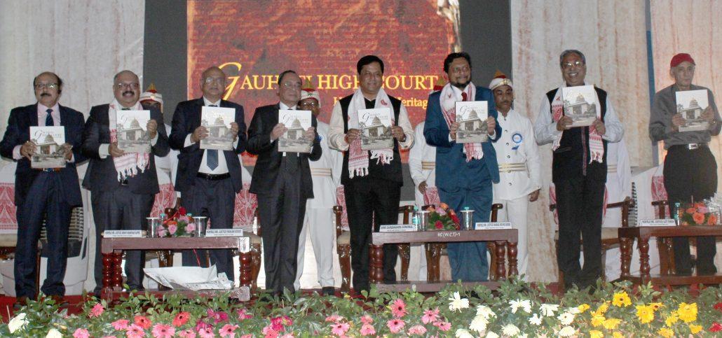 SC Judge Ranjan Gogoi, CM Sarbananda Sonowal, writer Arup Kumar Dutta and others at the event in Guwahati on Saturday. Image credit: UB Photos