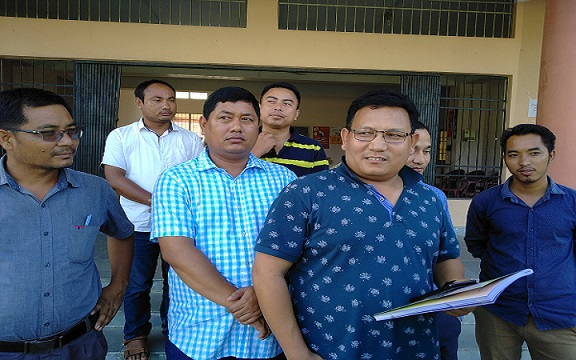 ABSU delegation led by its president Promad Boroafter meeting the VC and registrar of the Bodoland University on August 11, 2018. Photo: Rinoy Basumatary
