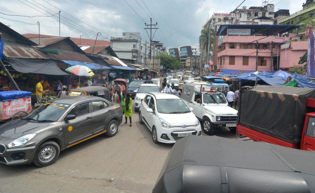 Traffic jam in Paltan Bazer area,Guwahati on 25-08-18.pix by ub photos Representative image