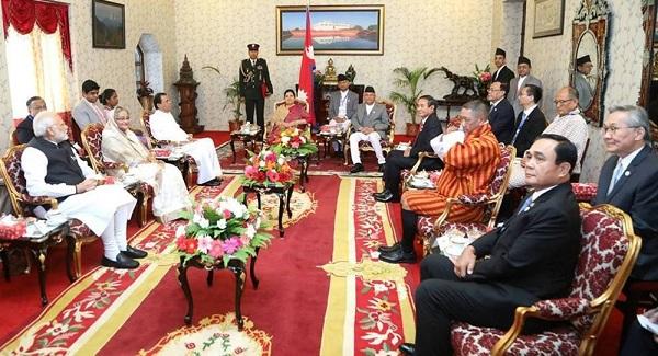 BIMSTEC leaders calling on Nepal president Bidhya Devi Bhandari at Kathmandu on August 30, 2018. Photo credit: The Kathmandu Post