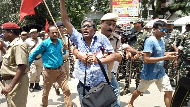 CITU, AIKS protest in Guwahati on August 9, 2018: Photo: Northeast Now