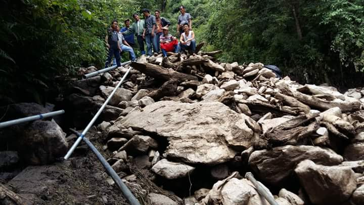 A damaged water supply source in Lumla.        Image credit: Northeast Now
