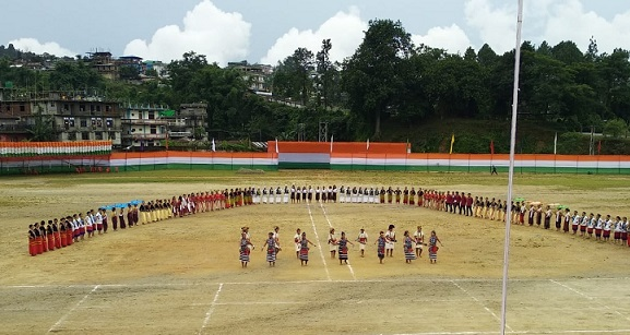 Preparations underway for Independence Day celebration at IG Park in Itanagar. Photo: Damien Lepcha