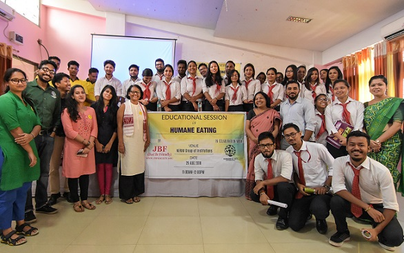 """An educational programme on """"Humane eating and veg outreach"""" was launched  by JBF (Just Be Friendly) in collaboration with HSI (Humane Society International) at NERIM Group of Institution premises on August 29, 2018. Photo: Northeast Now"""