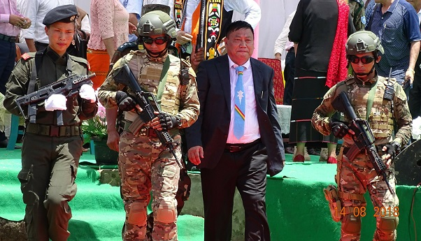 NSCN (IM) kilo kilonser (home minister) Hukavi Yepthomi arriving to attend the 72nd Naga Independence Day at Camp Hebron on August 14, 2018. Photo: Northeast Now.