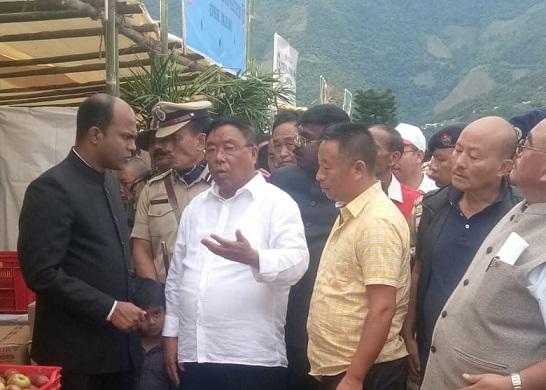 Chairman of the cabinet sub-committee G Kaito Aye  (in white shirt). Photo: Bhadra Gogoi