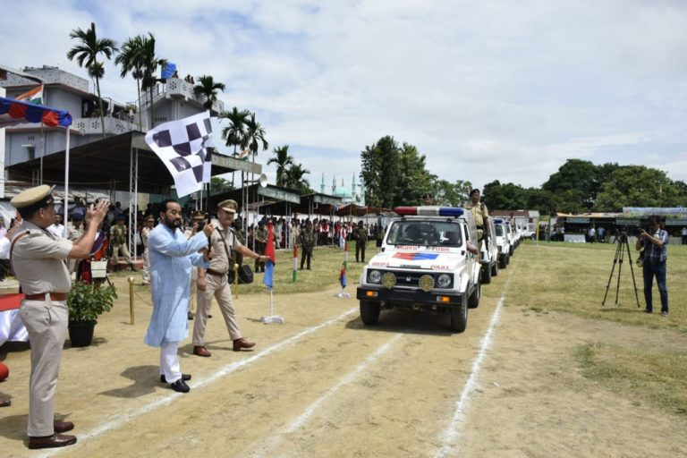 Nagaland dpeuty chief minister Y. Patton flagging off the highway patrol vehicles in Dimapur District Sports Complex stadium on Wednesday.