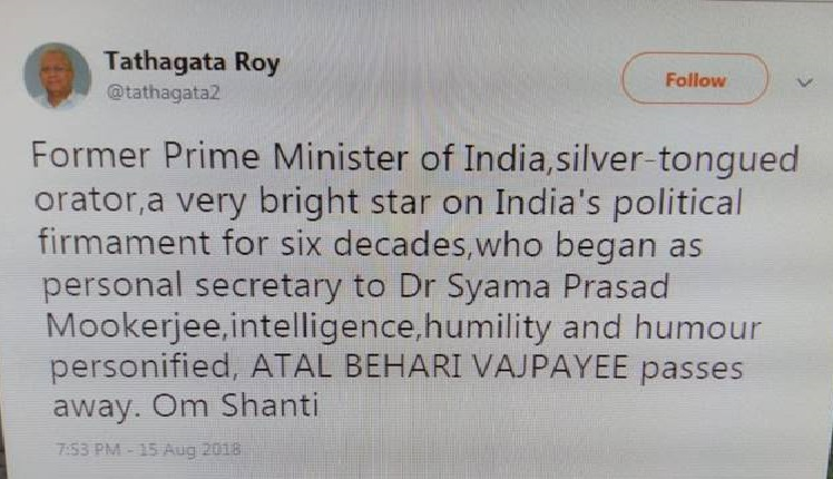 Tripura governor Tathagata Roy's tweet which he later deleted and apologised for the goof up. Photo source: Facebook