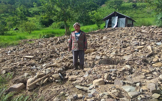 Trails of devastation after flood in a village in Manipur. Photo: Special arrangement