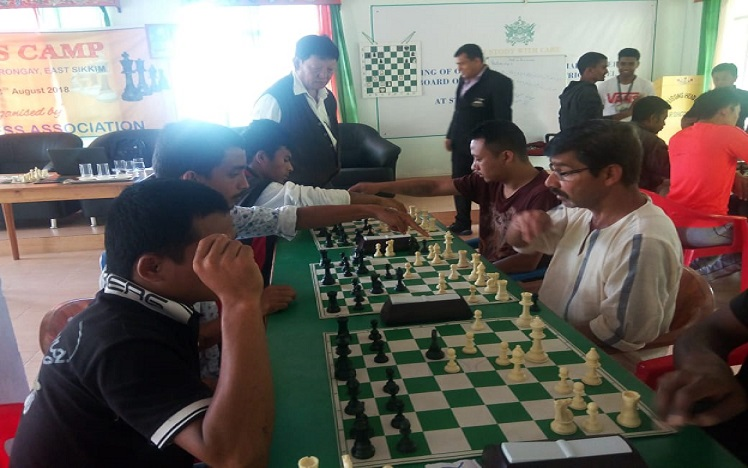 Inmates of State Central Prison at Rongneck in Sikkim participating in the three-day chess camp organised by Sikkim Chess Association. Photo: Sagar Chhetri