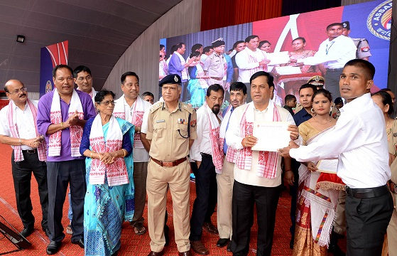 File photo of Assam CM Sarbananda Sonowal distributing appointment letters to newly recruited constable (Armed Branch) of Assam Police organised by Home Department and Assam Police at Veterinary college field, Khanapara in Guwahati on 24-08-18. Picture: UB photos