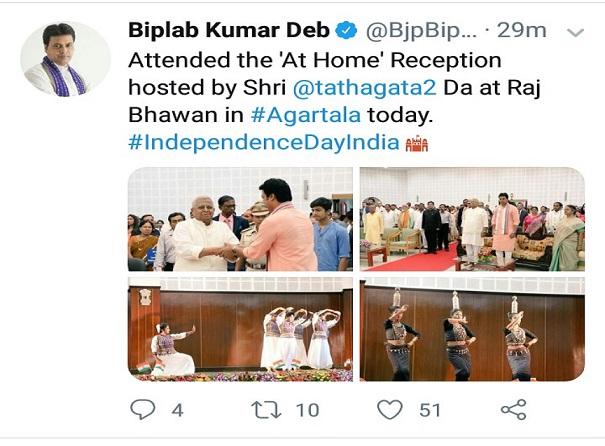 Tripura CM Biplab Kumar Deb's tweet.