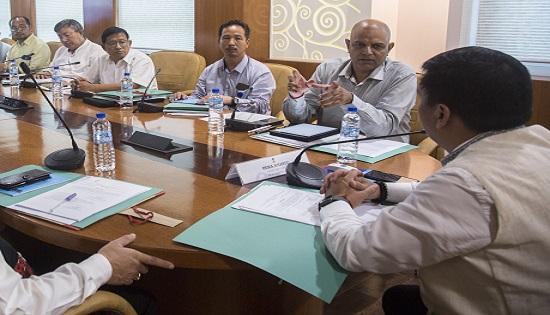 Arunachal Pradesh CM Pema Khandu chairing first governing body meet of newly created Chief Minister's Arogya Arunachal Society at Itanagar on August 9, 2018. Photo: Damien Lepcha