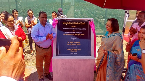 Manipur Governor Dr Najma Heptulla inaugurating facility for mass cultivation of orchids and farmers' training hostel in Imphal on August 16, 2018. Photo: Sobhapati Samom