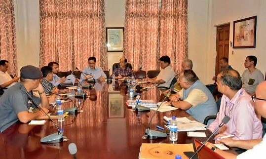 Kiren Rijiju holding a meeting with Nagaland chief minister Neiphiu Rio, central and state government officials, security forces after making an aerial survey of flood and landslide affected areas  in Dimapur on August 5, 2018. Photo: Northeast Now