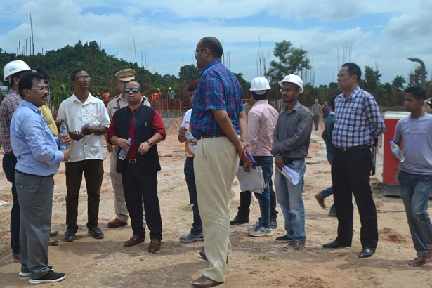 Sports Minister Banteidor Lyngdoh inspecting the construction site of International Multi-Sports Stadium at Ampati on August 16, 2018. Photo: Northeast Now