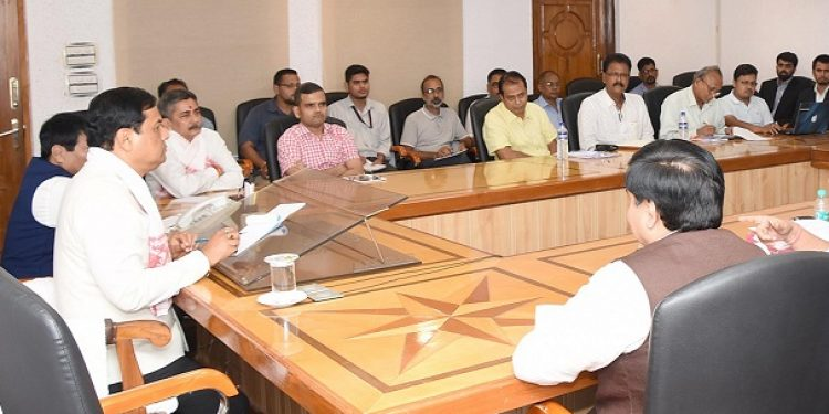 Assam Chief Minister Sarbananda Sonowal chairing a meeting of Agriculture Department at the conference room of his office in Janata Bhawan on September 20. Photo: UB Photos