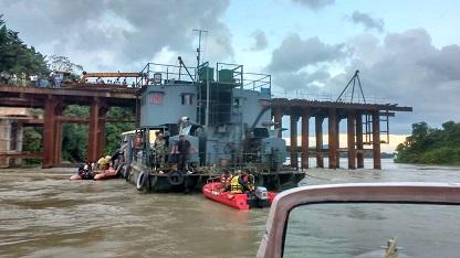 Army in river Brahmaputra