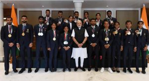 Hima Das with Modi