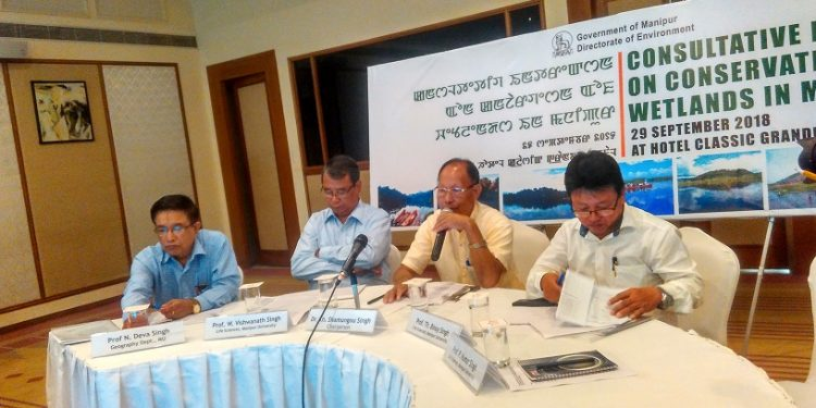 Dr Kh Shamungou(with microphone) chairman of technical committee of Manipur state wetlands authority chairing the consultation on wetlands in Imphal on Saturday photo S Samom (3)