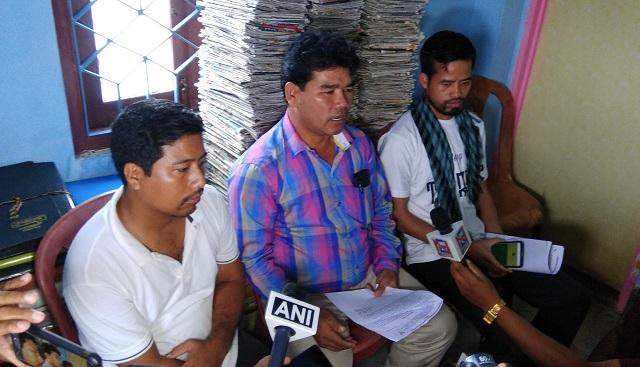 IPFT spokesman Mangal Debbarma (centre) addressing media at Agartala. File image: Northeast Now