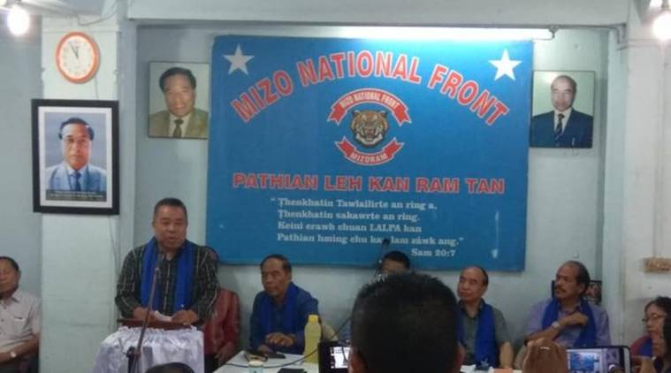 Robert Romawia Royte addressing reporters in Aizawl. Image: Indian Express
