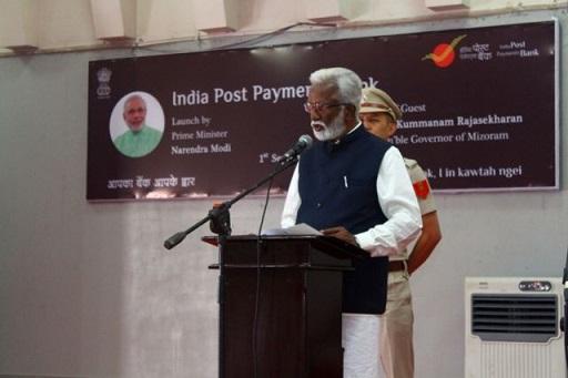 Mizoram governor Kummanam Rajasekharan during the launch of India Post Payments Bank at Lal Thanhawla Auditorium in Aizawl on Sep 1, 2018. Photo: Sangzuala Hmar