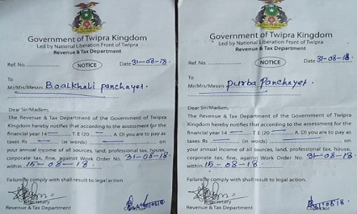 Extortion notices served by NLFT in Tripura. Photo: Pinaki Das