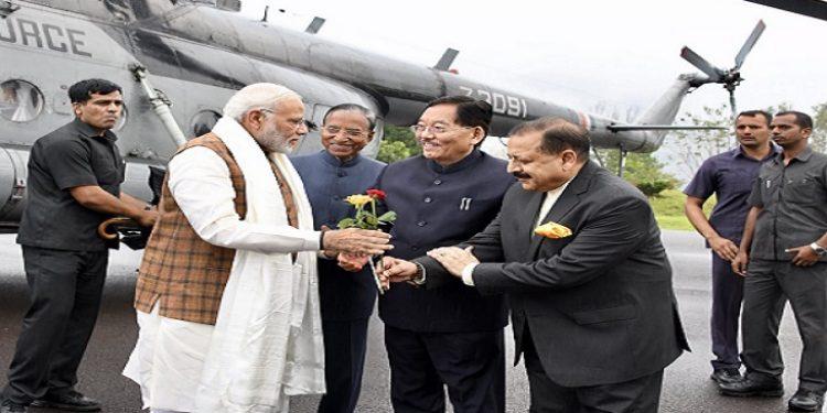Prime Minister Narendra Modi being received by Sikkim CM Pawan Chamling and DoNER minister Dr Jitendra Singh at Gangtok on Sunday. Photo: Sagar Chhetri
