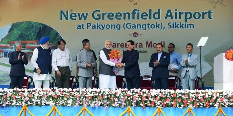 Prime Minister Narendra Modi during the inauguration of Pakyong Airport in Sikkim on Monday. Photo: Sagar Chhetri
