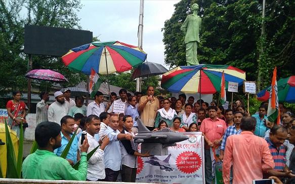 Silchar MP Sushmita Dev leads rally against Rafale scam