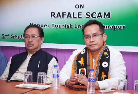 Congress MP Gaurav Gogoi (right), along with Nagaland Pradesh Congress Committee president K Therie, addressing a press conference in Dimapur on Sep 2, 2018. Photo: Bhadra Gogoi