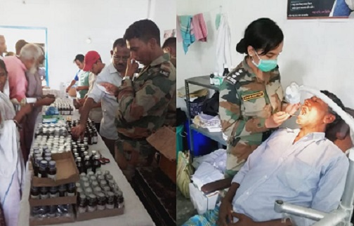 Red Horns Division of Indian Army organising a medical camp at riverine areas in Nalbari on Sep 2, 2018. Photo: Northeast Now