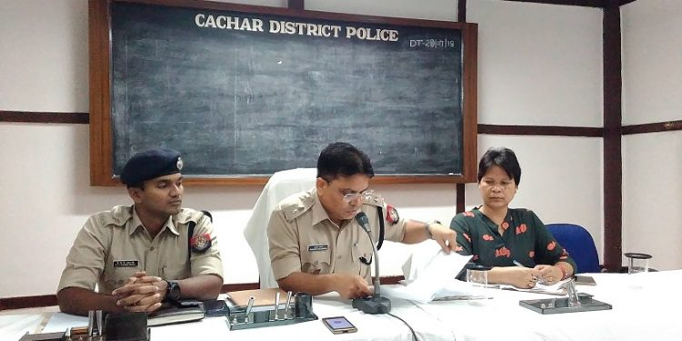 Superintendent of Police Rakesh Roshan briefing the media on the formation of a Special Task Force to combat lynching in Cachar district. Photo: Aparna Laskar